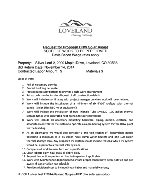 Request for Proposal DHW Solar Assist SCOPE OF WORK TO BE - lovelandhousing