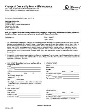 Fillable Online Change of Ownership Form Life Insurance ...