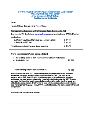 Fillable Online DTS Constructed Travel Comparison Worksheet ...