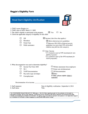 Reggies Eligibility Form - eclkc ohs acf hhs