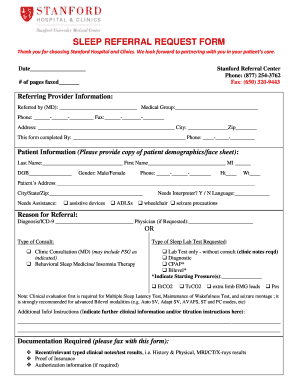 Fillable Online SLEEP REFERRAL REQUEST FORM - Stanford Hospital ...