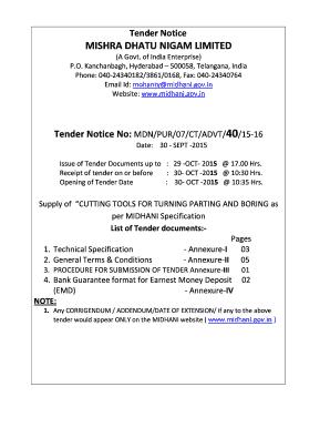 Tender Notice Format
