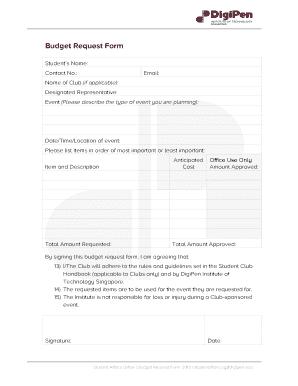 Budget Request Form   Bsingaporedigipenedub
