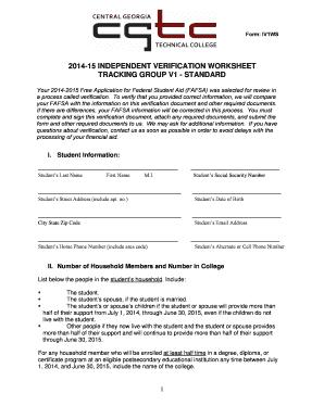 Worksheet Fafsa Independent Verification Worksheet fillable online form iv1ws 201415 independent verification fill online
