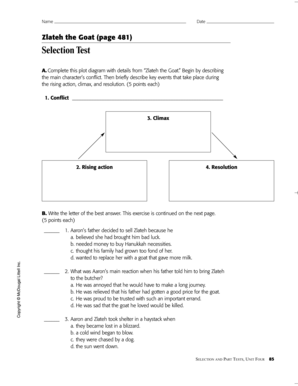 Plot diagram worksheet forms and templates fillable printable zlateh the goat page 481 selection test ccuart Gallery
