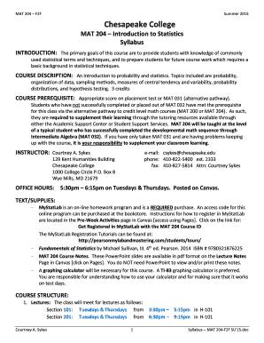 Fillable Online info chesapeake MAT 204 F2F - info chesapeake Fax