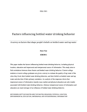 Factors influencing bottled water drinking behavior A survey on factors that shape peoples beliefs on bottled water and tap water - courses cit cornell