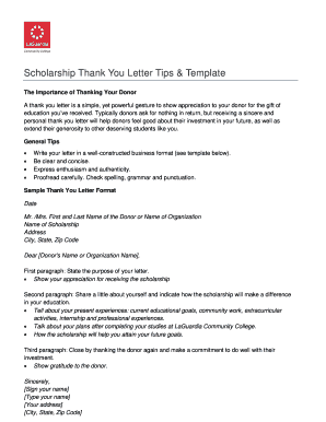 Scholarship Thank You Letter Tips Template - lagcc cuny