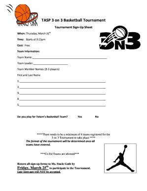 3 on 3 basketball tournament sign up sheet template edit fill