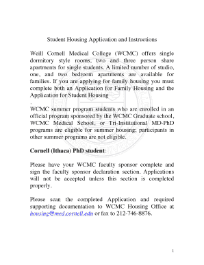 Fillable Online weill cornell Student Housing Application
