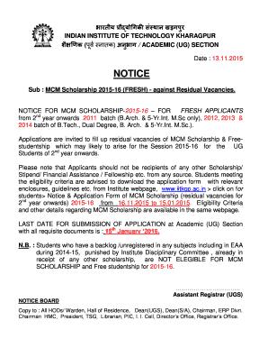 Fillable Online erp iitkgp ernet Notice - ERP - Indian Institute of