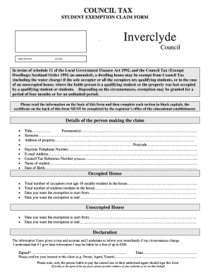 STUDENT EXEMPTION CLAIM FORM - inverclyde gov