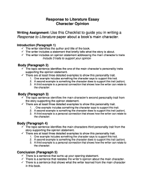 Fillable Online Response To Literature Essay Character Opinion Fax  Fill Online