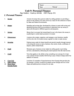 Personal Finance Worksheet Answers - Nidecmege