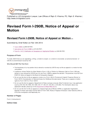 Fillable Online Revised Form I-290B Notice of Appeal or Motion Fax ...