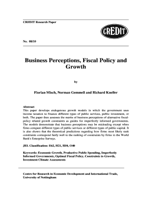 Business Perceptions Fiscal Policy and Growth - CSAE - csae ox ac