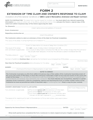 FORM 2 EXTENSION OF TIME CLAIM AND OWNERS RESPONSE TO CLAIM (Condition 23  Of The. Construction Contract Agreement 2017   HVAC BLANK SAMPLE  Blank Construction Contract