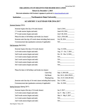 Academic Calendar Northeastern Editable Fillable Printable