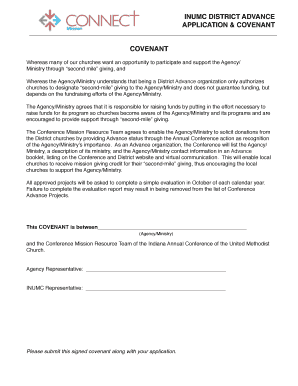 INUMC DISTRICT ADVANCE APPLICATION COVENANT FREQUENTLY