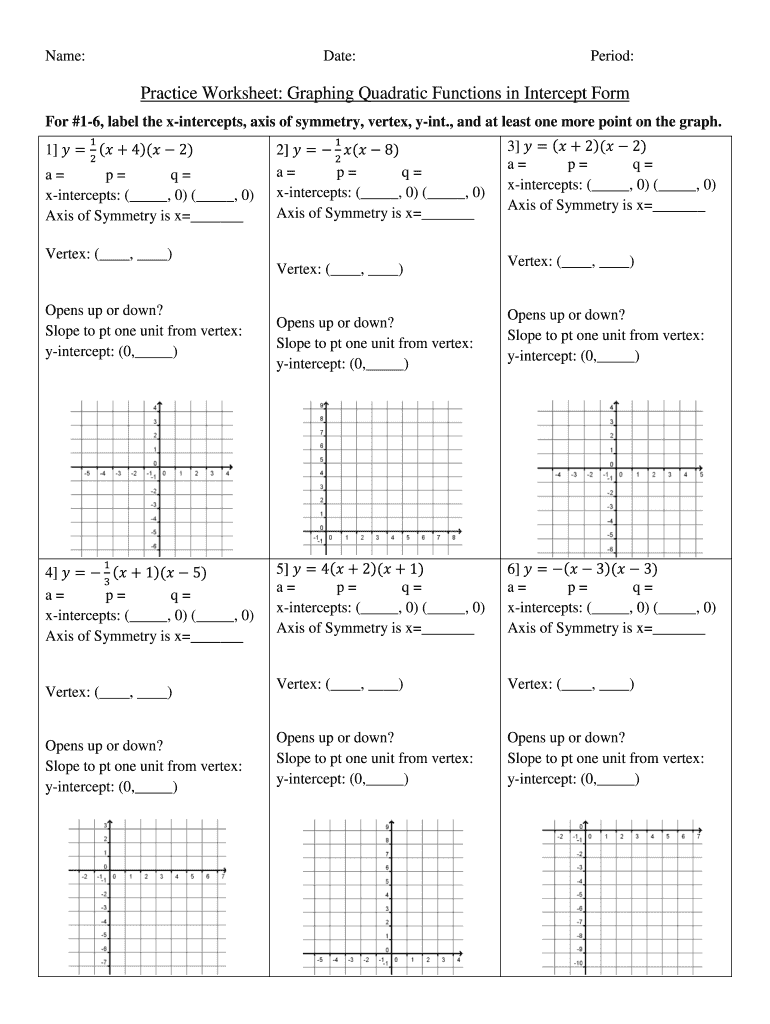 Worksheet Graphing Quadratics From