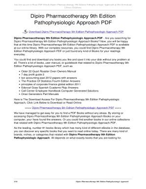 Dipiro Pharmacotherapy A Pathophysiologic Approach Pdf Fill Online