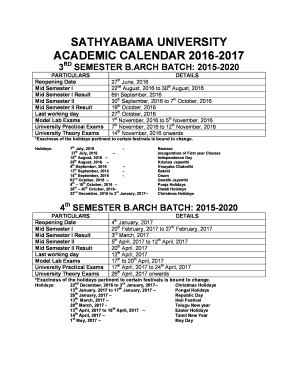 Academic Calendar 2016-2020 Fillable Online SATHYABAMA UNIVERSITY ACADEMIC CALENDAR 2016 2017