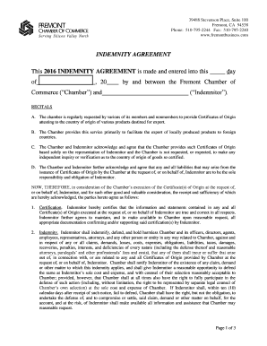 Editable indemnity agreement sample Fill Print Download Online