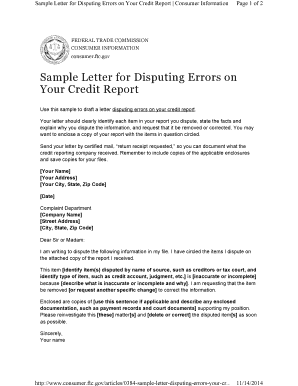 Sample Letter for Disputing Errors on Your Credit Report - chapters onefpa