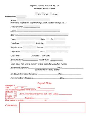 Personnel Action Form Shrm