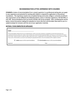 RECOMMENDATION LETTER EXPERIENCE WITH CHILDREN - education uoregon