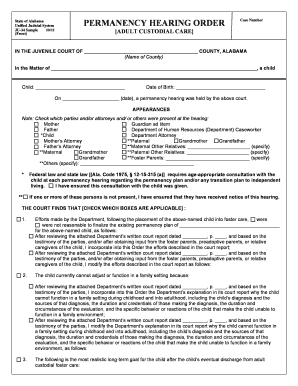 State Of Alabama Unified Judicial System JU34 Sample 10/11 (Front)  PERMANENCY HEARING