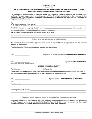 hire purchase agreement forms for motor vehicles pdf  Printable authority to make entry form - Edit, Fill Out