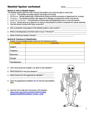 Fillable Online sites jackson k12 ga Skeletal System worksheet ...