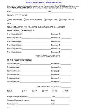 BUDGET ALLOCATION TRANSFER REQUEST - cheneysdorg Fill Online