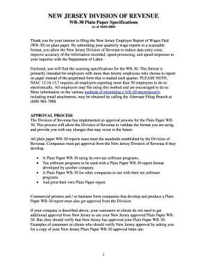 Fillable Online NEW JERSEY DIVISION OF REVENUE WR30 Plain Paper ...