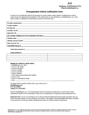 Fillable Online Overpayment refund notification form