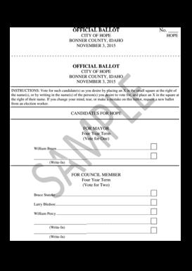 fillable online official ballot no bonner county idaho