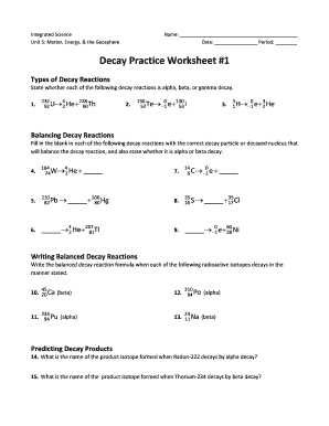 decay practice worksheet 1 fill online printable fillable blank pdffiller. Black Bedroom Furniture Sets. Home Design Ideas