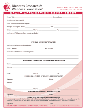 Project Proposal Form Template. The Cover Sheet Form Is Included With These  Guidelines   Diabetes