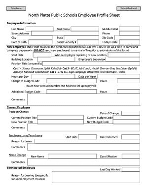 employee information sheet pdf