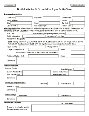 North Platte Public Schools Employee Profile Sheet   Nppsdorg  Profile Sheet Template