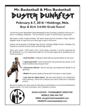 Printable Basketball Tournament Registration Form Template