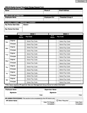 fillable online controller ucsf hbs bi weekly exempt timesheet