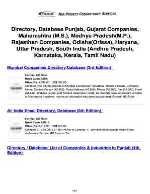 Directory Database Punjab Gujarat Companies Maharashtra MS