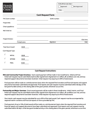 fillable online cash request form florida humanities fax email