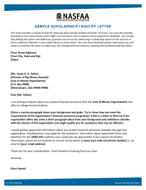 Sample Scholarship Inquiry Letter Template - Oswego