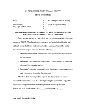 motion for discovery template georgia edit fill out top online