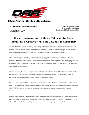Gsa Auto Auction >> Fillable Online Dealer S Auto Auction Welcomes Gsa In