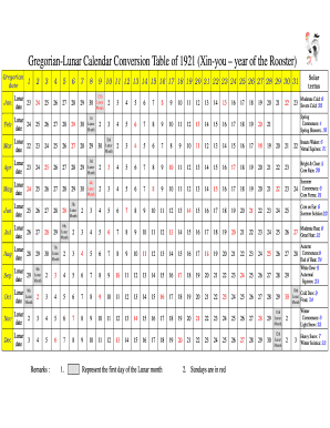 Lunar Calendar Conversion 2022.Fillable Online Gregorian Lunar Calendar Conversion Table Of 1921 Xin You Year Of The Rooster Fax Email Print Pdffiller