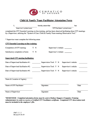 Child Amp Family Team Facilitator Attestation Form Ihereby Attest That Supervisor S Printed Name Has Cft Completed The